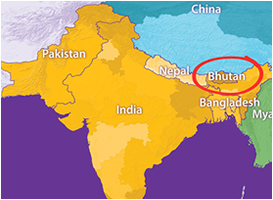 Bhutan in World map - World Tour Plan